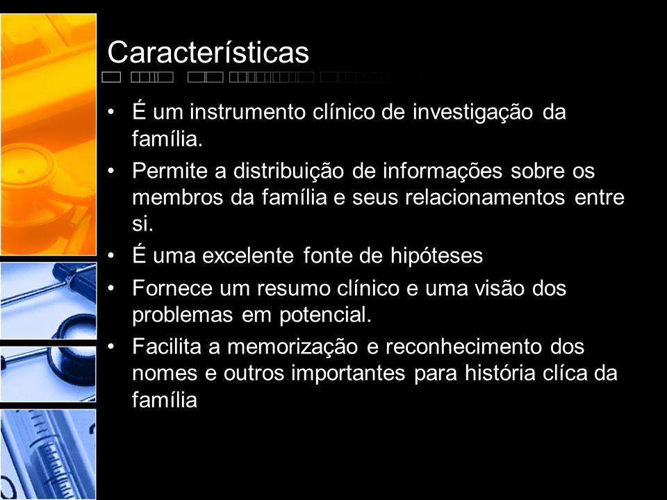 Características •É um instrumento clínico de investigação da família. •Permite a distribuição de informações sobre os membros da família e seus relaci