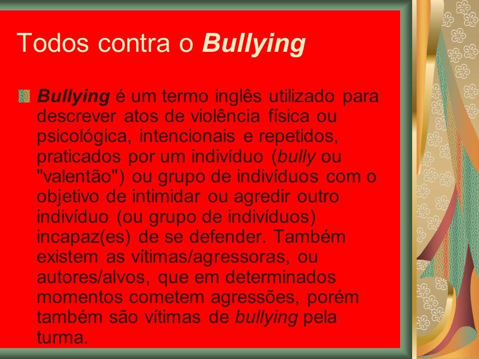 Todos contra o Bullying Bullying é um termo inglês utilizado para descrever atos de violência física ou psicológica, intencionais e repetidos, pratica