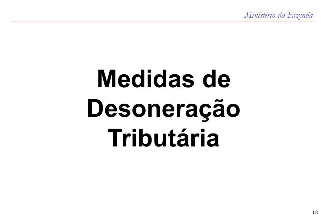 Ministério da Fazenda 18 Medidas de Desoneração Tributária