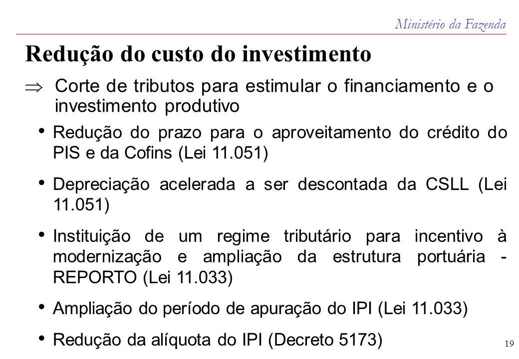 Ministério da Fazenda 19 Redução do custo do investimento  Corte de tributos para estimular o financiamento e o investimento produtivo • Redução do prazo para o aproveitamento do crédito do PIS e da Cofins (Lei 11.051) • Depreciação acelerada a ser descontada da CSLL (Lei 11.051) • Instituição de um regime tributário para incentivo à modernização e ampliação da estrutura portuária - REPORTO (Lei 11.033) • Ampliação do período de apuração do IPI (Lei 11.033) • Redução da alíquota do IPI (Decreto 5173)