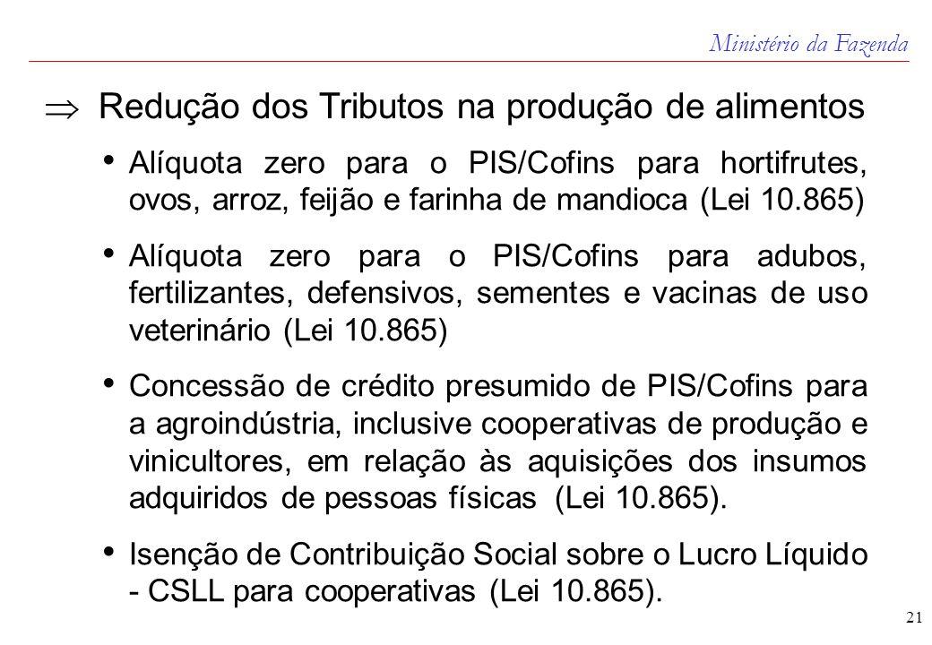 Ministério da Fazenda 21  Redução dos Tributos na produção de alimentos • Alíquota zero para o PIS/Cofins para hortifrutes, ovos, arroz, feijão e farinha de mandioca (Lei 10.865) • Alíquota zero para o PIS/Cofins para adubos, fertilizantes, defensivos, sementes e vacinas de uso veterinário (Lei 10.865) • Concessão de crédito presumido de PIS/Cofins para a agroindústria, inclusive cooperativas de produção e vinicultores, em relação às aquisições dos insumos adquiridos de pessoas físicas (Lei 10.865).