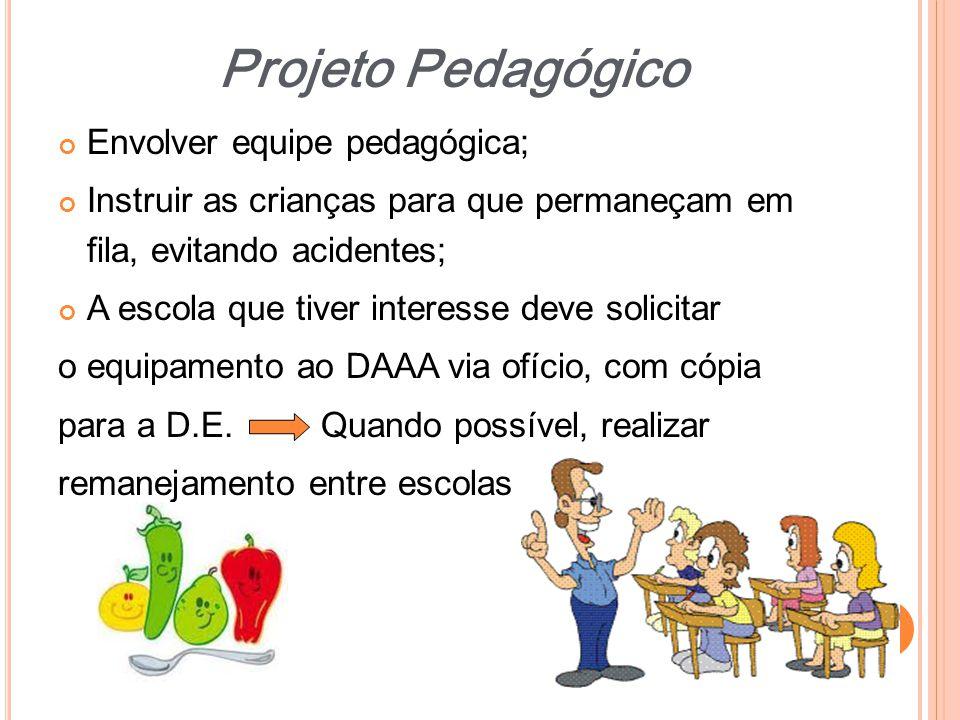 Envolver equipe pedagógica; Instruir as crianças para que permaneçam em fila, evitando acidentes; A escola que tiver interesse deve solicitar o equipa