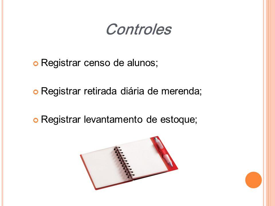 Registrar censo de alunos; Registrar retirada diária de merenda; Registrar levantamento de estoque; Controles