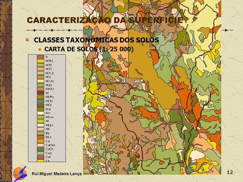 Rui Miguel Madeira Lança 12 CARACTERIZAÇÃO DA SUPERFICIE CLASSES TAXONÓMICAS DOS SOLOS CARTA DE SOLOS (1: 25 000)