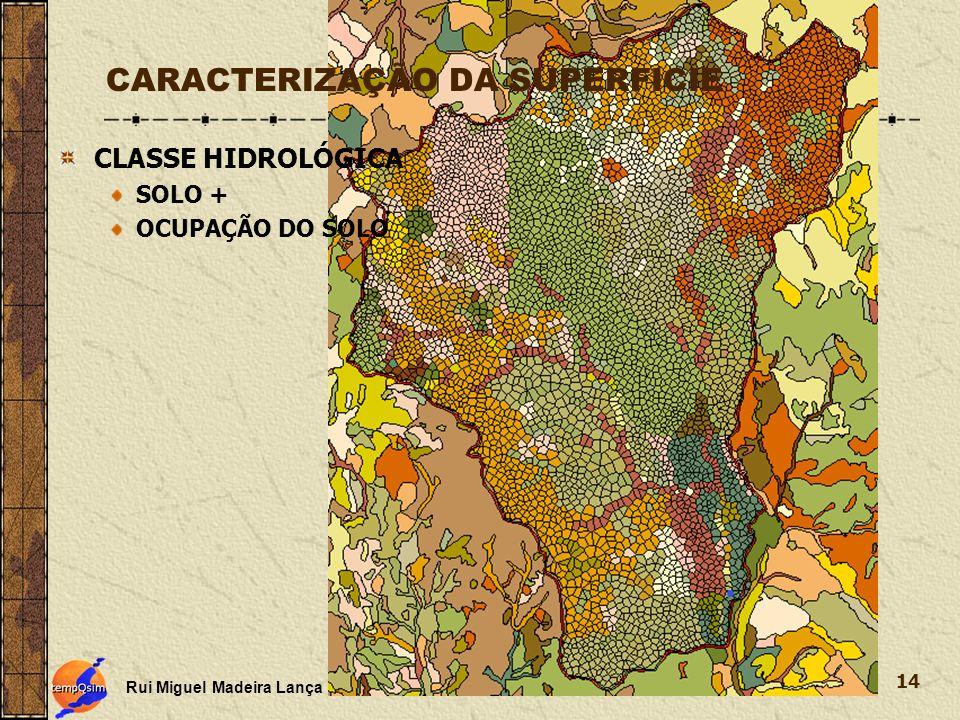 Rui Miguel Madeira Lança 14 CARACTERIZAÇÃO DA SUPERFICIE CLASSE HIDROLÓGICA SOLO + OCUPAÇÃO DO SOLO