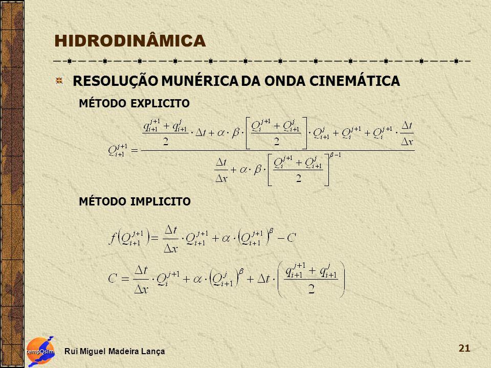 Rui Miguel Madeira Lança 21 HIDRODINÂMICA RESOLUÇÃO MUNÉRICA DA ONDA CINEMÁTICA MÉTODO EXPLICITO MÉTODO IMPLICITO