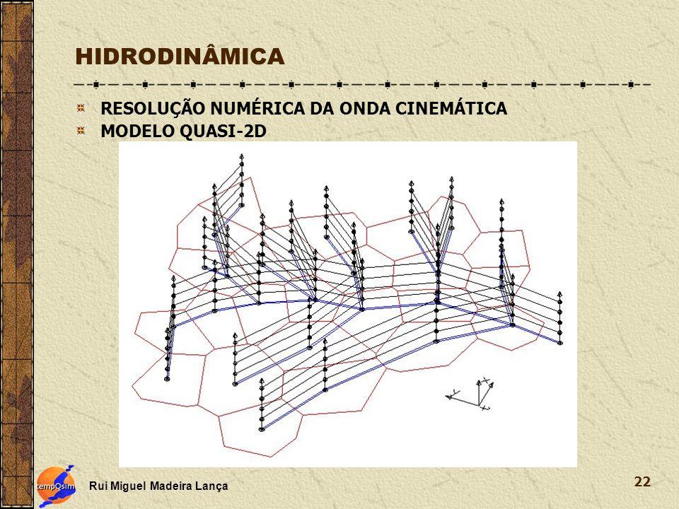 Rui Miguel Madeira Lança 22 HIDRODINÂMICA RESOLUÇÃO NUMÉRICA DA ONDA CINEMÁTICA MODELO QUASI-2D