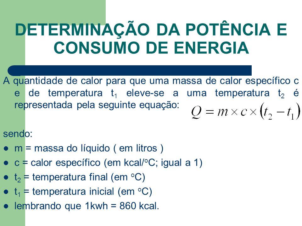 DETERMINAÇÃO DA POTÊNCIA E CONSUMO DE ENERGIA A quantidade de calor para que uma massa de calor específico c e de temperatura t 1 eleve-se a uma tempe