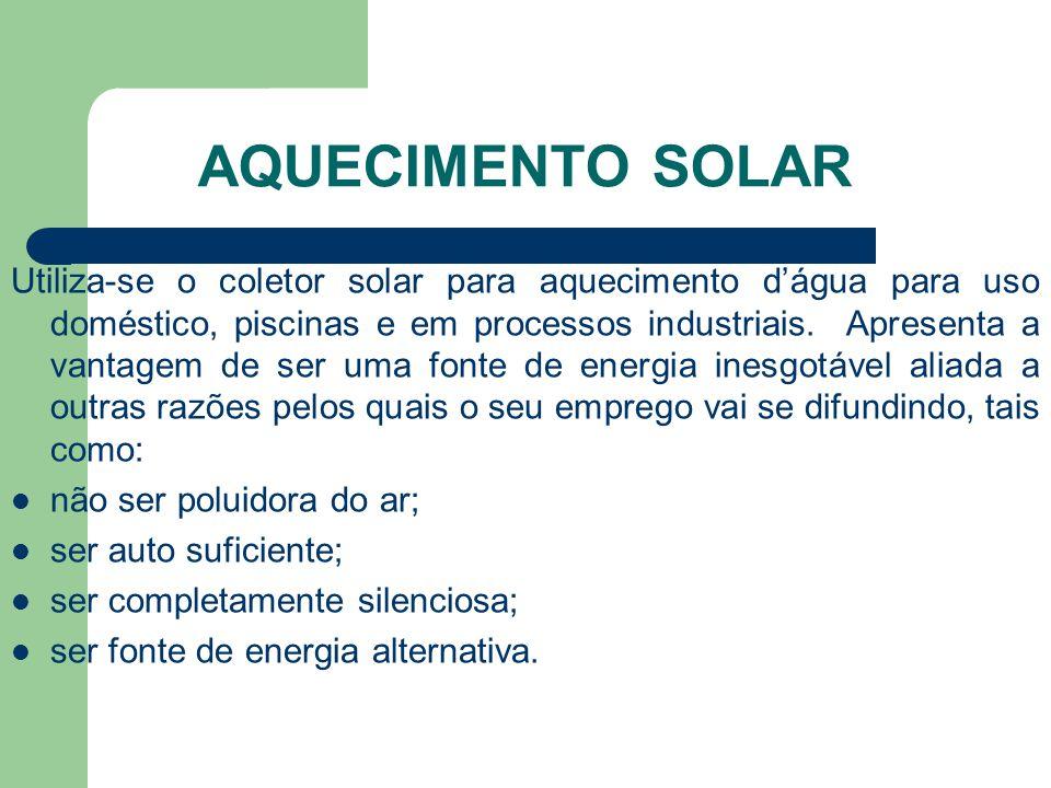 AQUECIMENTO SOLAR Utiliza-se o coletor solar para aquecimento d'água para uso doméstico, piscinas e em processos industriais. Apresenta a vantagem de