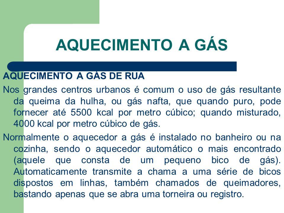 AQUECIMENTO A GÁS AQUECIMENTO A GÁS DE RUA Nos grandes centros urbanos é comum o uso de gás resultante da queima da hulha, ou gás nafta, que quando pu