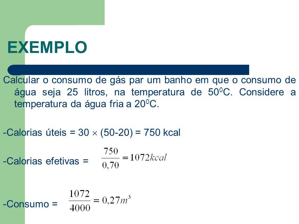 EXEMPLO Calcular o consumo de gás par um banho em que o consumo de água seja 25 litros, na temperatura de 50 0 C. Considere a temperatura da água fria