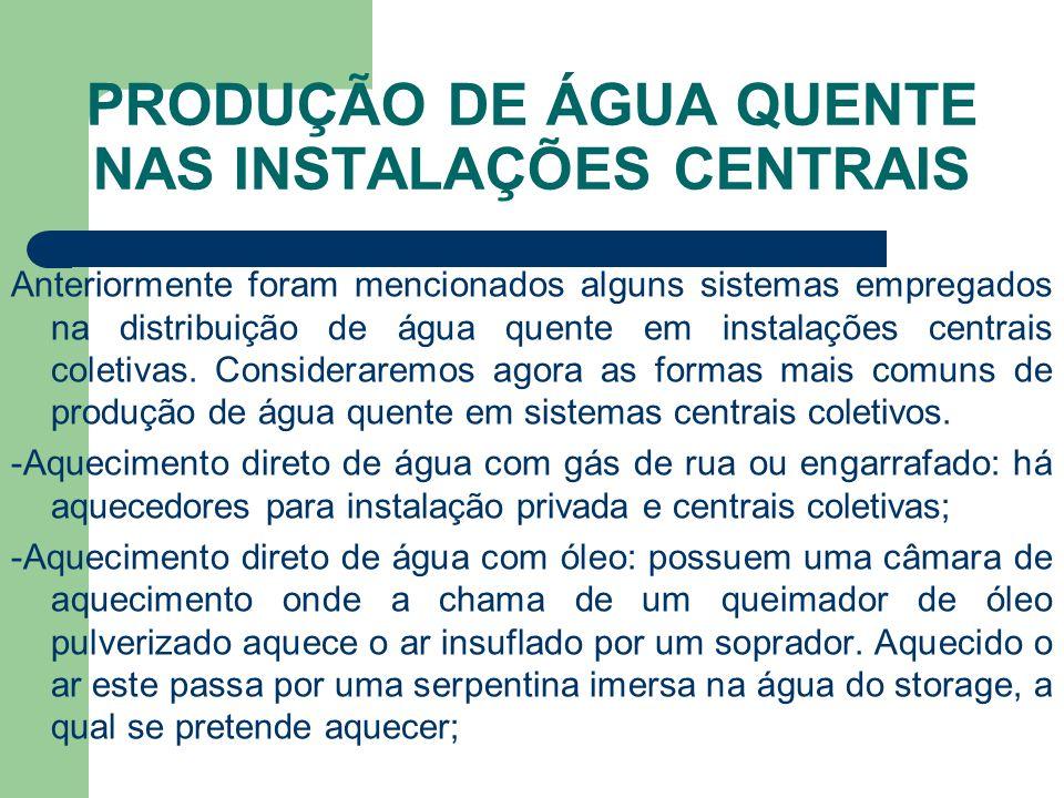 PRODUÇÃO DE ÁGUA QUENTE NAS INSTALAÇÕES CENTRAIS Anteriormente foram mencionados alguns sistemas empregados na distribuição de água quente em instalaç