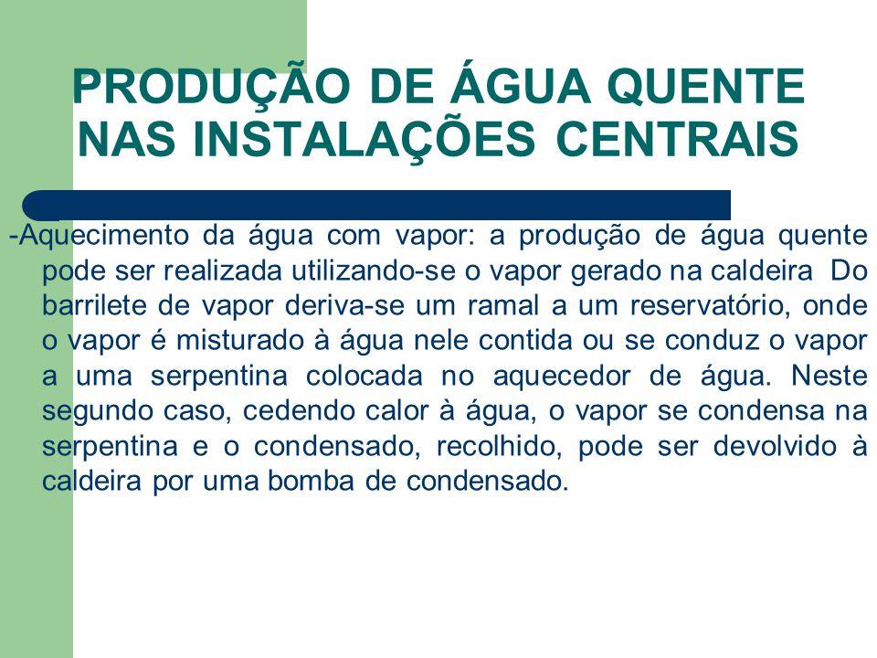 PRODUÇÃO DE ÁGUA QUENTE NAS INSTALAÇÕES CENTRAIS -Aquecimento da água com vapor: a produção de água quente pode ser realizada utilizando-se o vapor ge