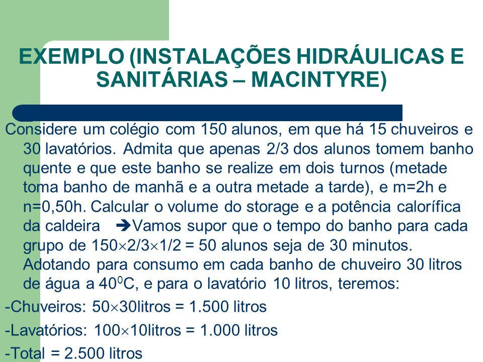 EXEMPLO (INSTALAÇÕES HIDRÁULICAS E SANITÁRIAS – MACINTYRE) Considere um colégio com 150 alunos, em que há 15 chuveiros e 30 lavatórios. Admita que ape