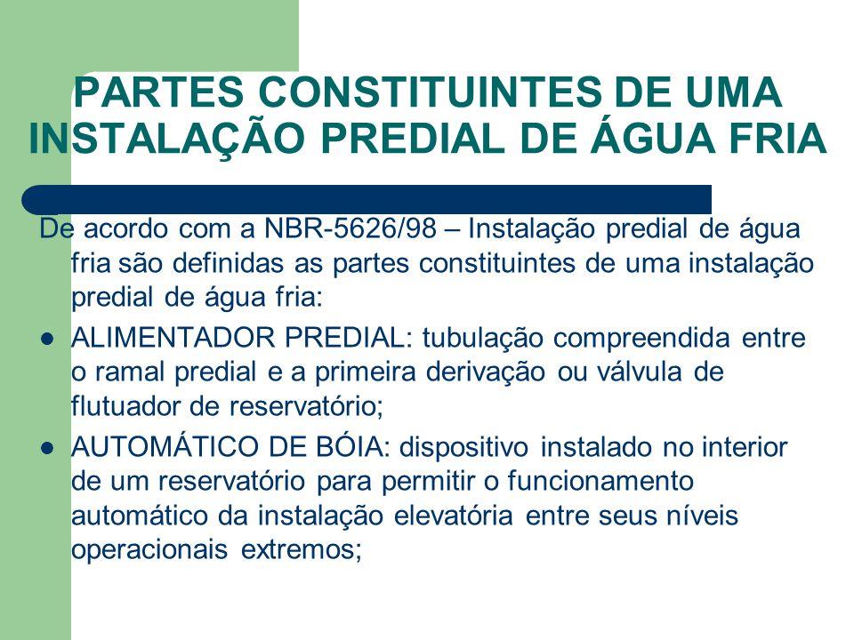 PARTES CONSTITUINTES DE UMA INSTALAÇÃO PREDIAL DE ÁGUA FRIA De acordo com a NBR-5626/98 – Instalação predial de água fria são definidas as partes cons