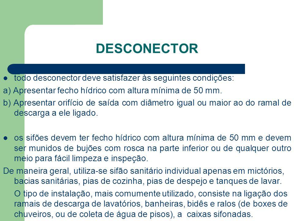DESCONECTOR  todo desconector deve satisfazer às seguintes condições: a) Apresentar fecho hídrico com altura mínima de 50 mm. b) Apresentar orifício