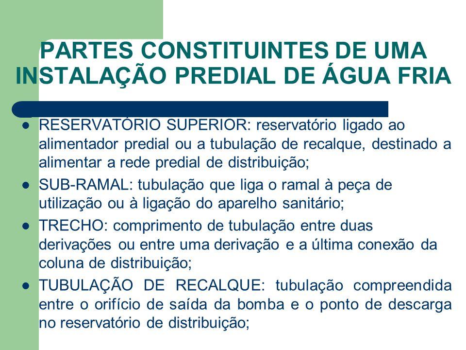 PARTES CONSTITUINTES DE UMA INSTALAÇÃO PREDIAL DE ÁGUA FRIA  RESERVATÓRIO SUPERIOR: reservatório ligado ao alimentador predial ou a tubulação de reca