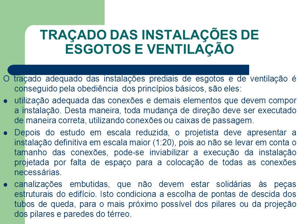 TRAÇADO DAS INSTALAÇÕES DE ESGOTOS E VENTILAÇÃO O traçado adequado das instalações prediais de esgotos e de ventilação é conseguido pela obediência do