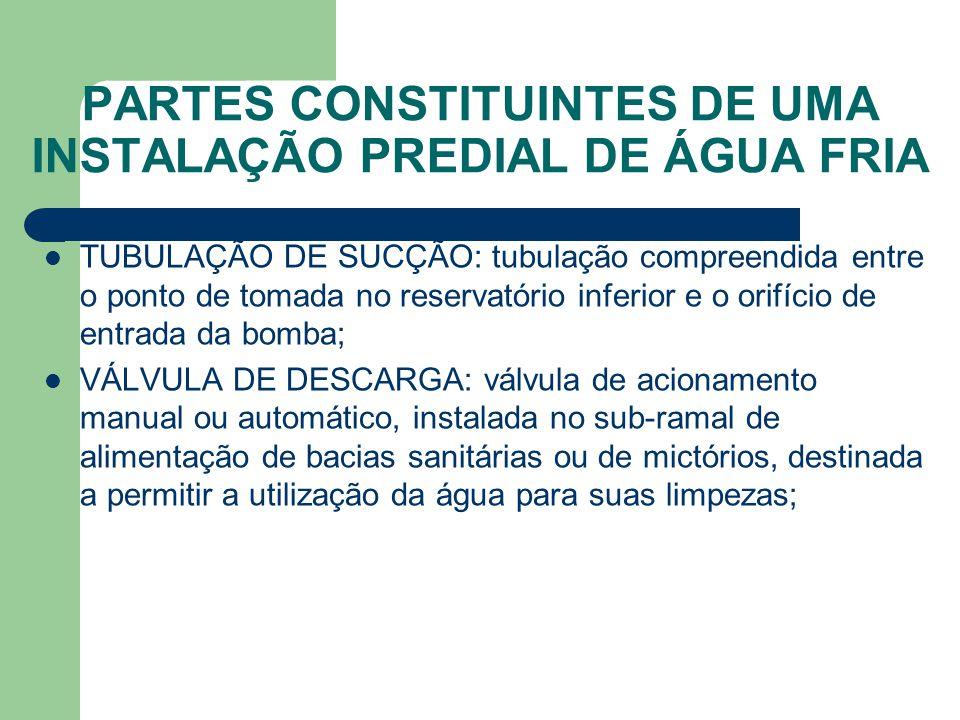 PARTES CONSTITUINTES DE UMA INSTALAÇÃO PREDIAL DE ÁGUA FRIA  TUBULAÇÃO DE SUCÇÃO: tubulação compreendida entre o ponto de tomada no reservatório infe