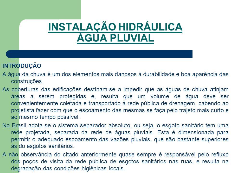 INSTALAÇÃO HIDRÁULICA ÁGUA PLUVIAL INTRODUÇÃO A água da chuva é um dos elementos mais danosos à durabilidade e boa aparência das construções. As cober