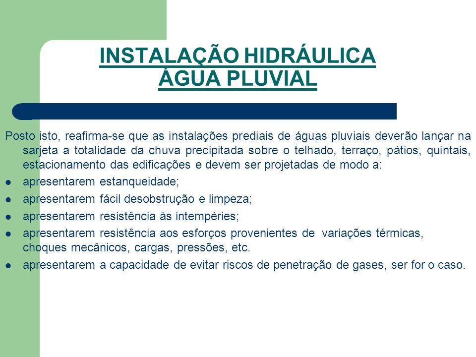 INSTALAÇÃO HIDRÁULICA ÁGUA PLUVIAL Posto isto, reafirma-se que as instalações prediais de águas pluviais deverão lançar na sarjeta a totalidade da chu