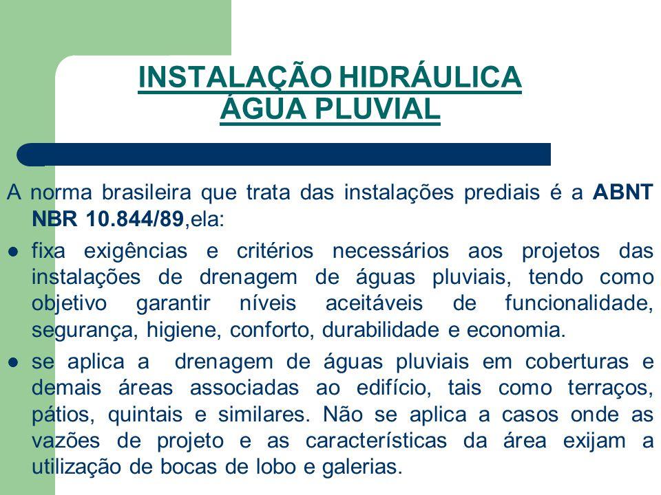 INSTALAÇÃO HIDRÁULICA ÁGUA PLUVIAL A norma brasileira que trata das instalações prediais é a ABNT NBR 10.844/89,ela:  fixa exigências e critérios nec