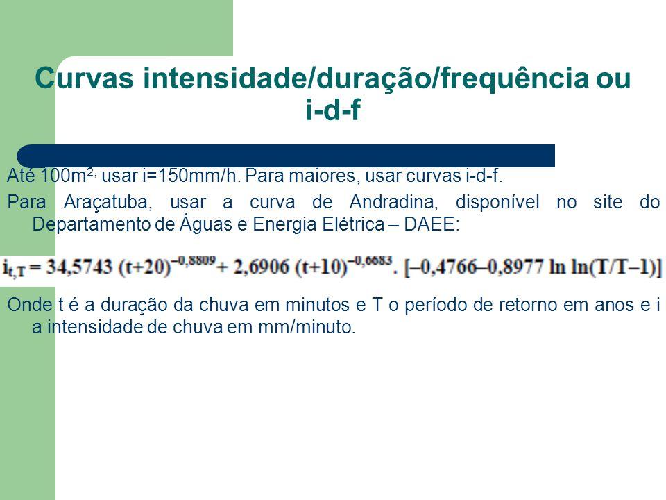 Curvas intensidade/duração/frequência ou i-d-f Até 100m 2, usar i=150mm/h. Para maiores, usar curvas i-d-f. Para Araçatuba, usar a curva de Andradina,