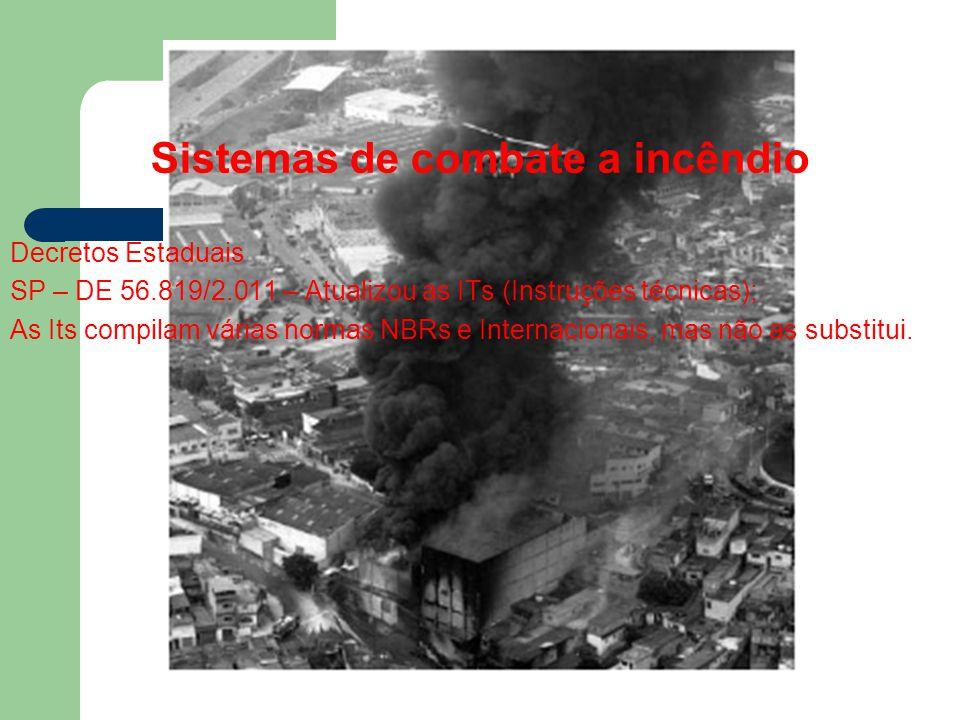 Sistemas de combate a incêndio Decretos Estaduais SP – DE 56.819/2.011 – Atualizou as ITs (Instruções técnicas); As Its compilam várias normas NBRs e