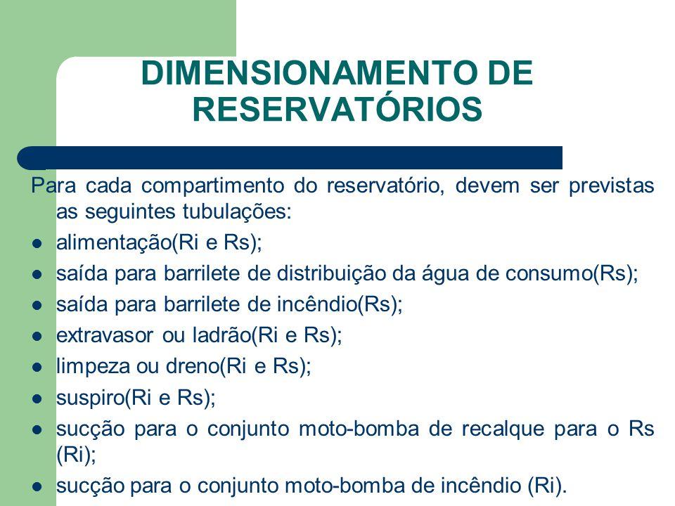 DIMENSIONAMENTO DE RESERVATÓRIOS Para cada compartimento do reservatório, devem ser previstas as seguintes tubulações:  alimentação(Ri e Rs);  saída