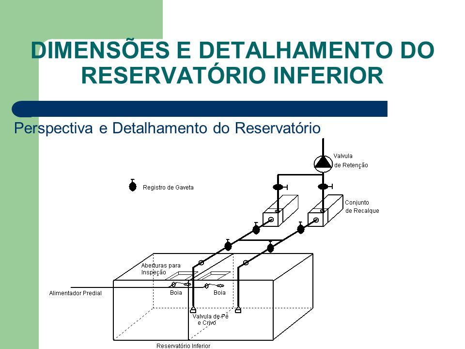 DIMENSÕES E DETALHAMENTO DO RESERVATÓRIO INFERIOR Perspectiva e Detalhamento do Reservatório