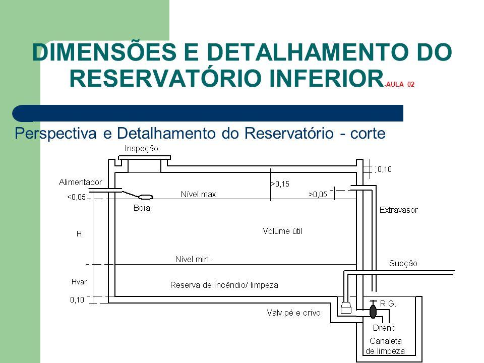 DIMENSÕES E DETALHAMENTO DO RESERVATÓRIO INFERIOR -AULA 02 Perspectiva e Detalhamento do Reservatório - corte
