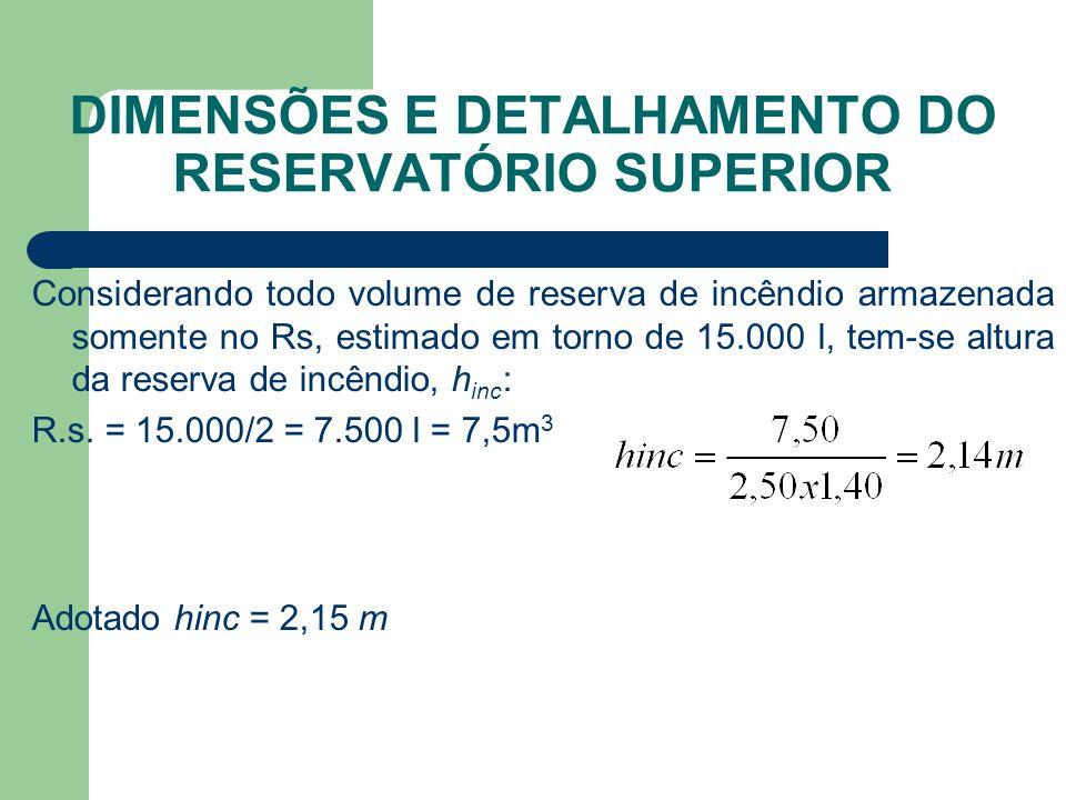 DIMENSÕES E DETALHAMENTO DO RESERVATÓRIO SUPERIOR Considerando todo volume de reserva de incêndio armazenada somente no Rs, estimado em torno de 15.00