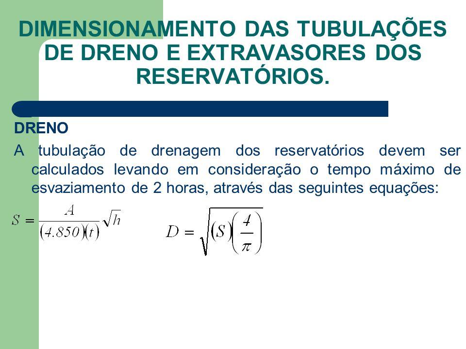 DIMENSIONAMENTO DAS TUBULAÇÕES DE DRENO E EXTRAVASORES DOS RESERVATÓRIOS. DRENO A tubulação de drenagem dos reservatórios devem ser calculados levando