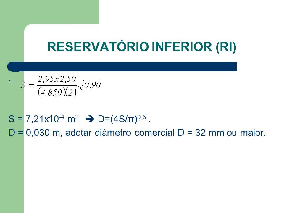 RESERVATÓRIO INFERIOR (RI). S = 7,21x10 -4 m 2  D=(4S/π) 0,5. D = 0,030 m, adotar diâmetro comercial D = 32 mm ou maior.