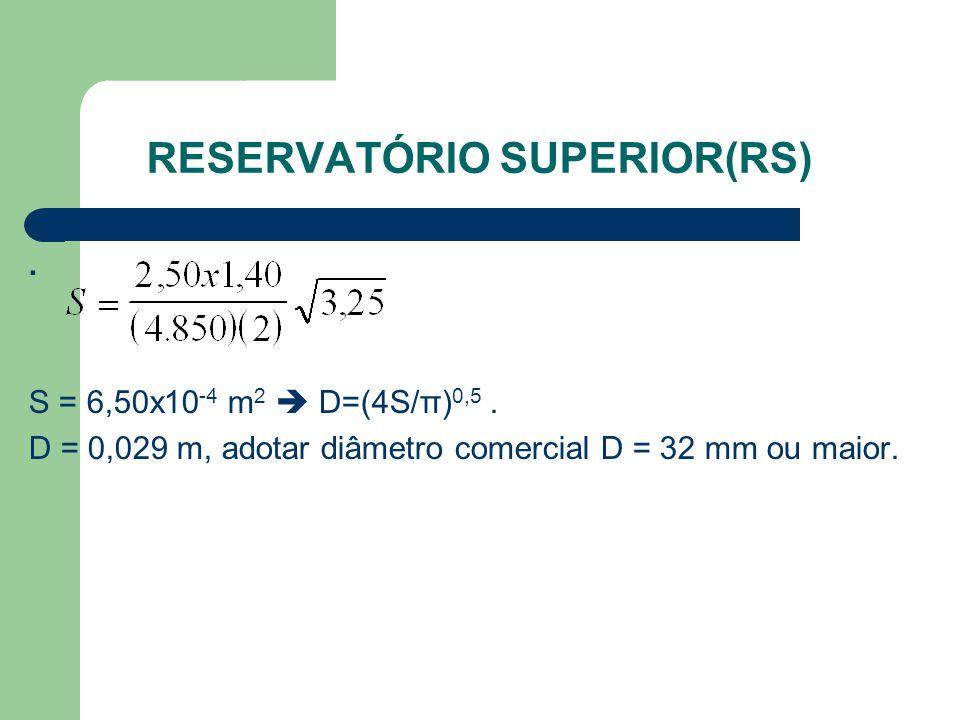 RESERVATÓRIO SUPERIOR(RS). S = 6,50x10 -4 m 2  D=(4S/π) 0,5. D = 0,029 m, adotar diâmetro comercial D = 32 mm ou maior.