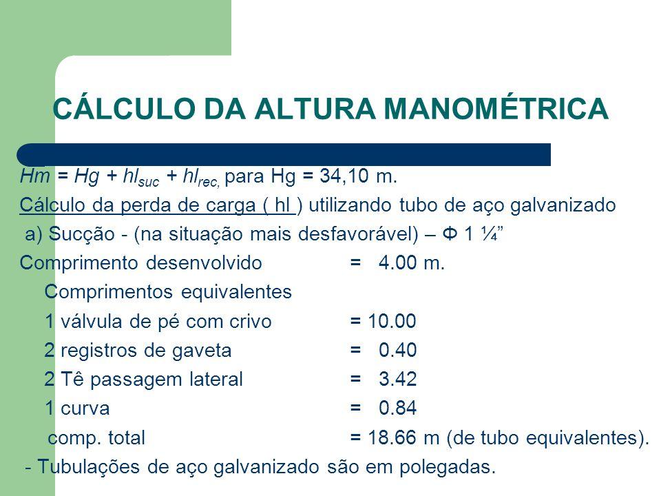 CÁLCULO DA ALTURA MANOMÉTRICA Hm = Hg + hl suc + hl rec, para Hg = 34,10 m. Cálculo da perda de carga ( hl ) utilizando tubo de aço galvanizado a) Suc