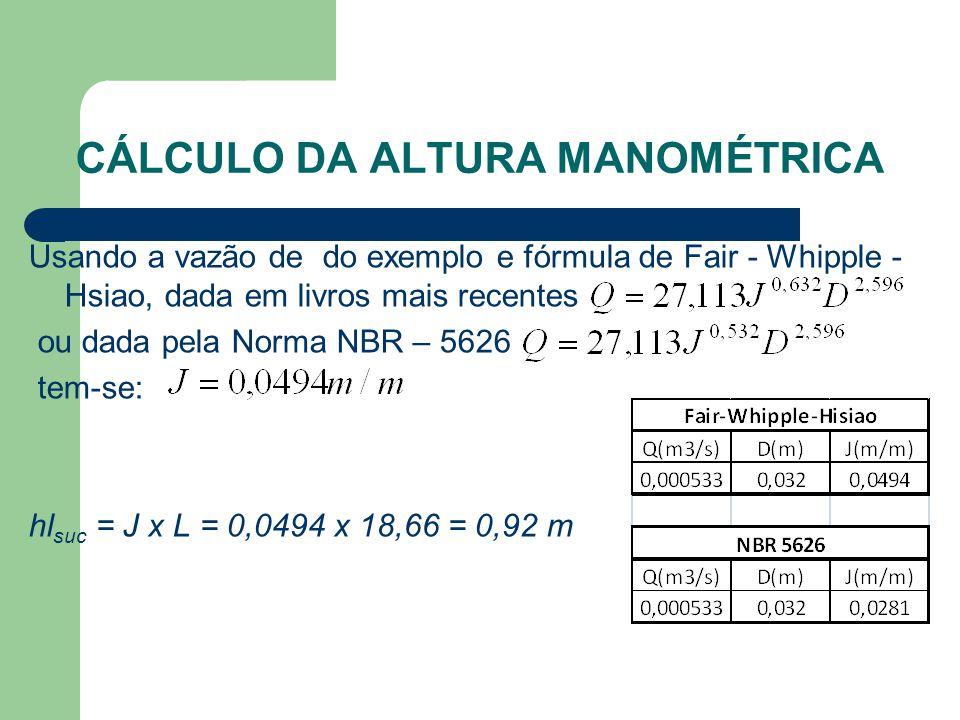CÁLCULO DA ALTURA MANOMÉTRICA Usando a vazão de do exemplo e fórmula de Fair - Whipple - Hsiao, dada em livros mais recentes ou dada pela Norma NBR –