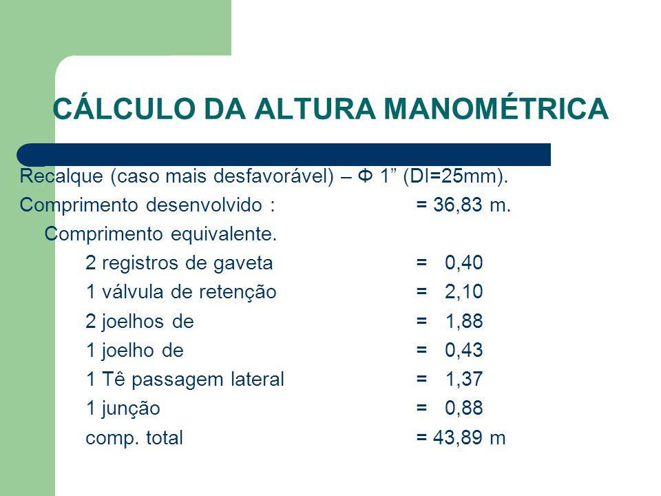 """CÁLCULO DA ALTURA MANOMÉTRICA Recalque (caso mais desfavorável) – Φ 1"""" (DI=25mm). Comprimento desenvolvido : = 36,83 m. Comprimento equivalente. 2 reg"""