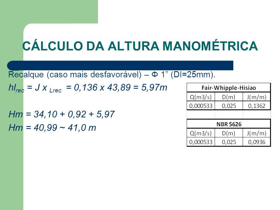 """CÁLCULO DA ALTURA MANOMÉTRICA Recalque (caso mais desfavorável) – Φ 1"""" (DI=25mm). hl rec = J x Lrec = 0,136 x 43,89 = 5,97m Hm = 34,10 + 0,92 + 5,97 H"""