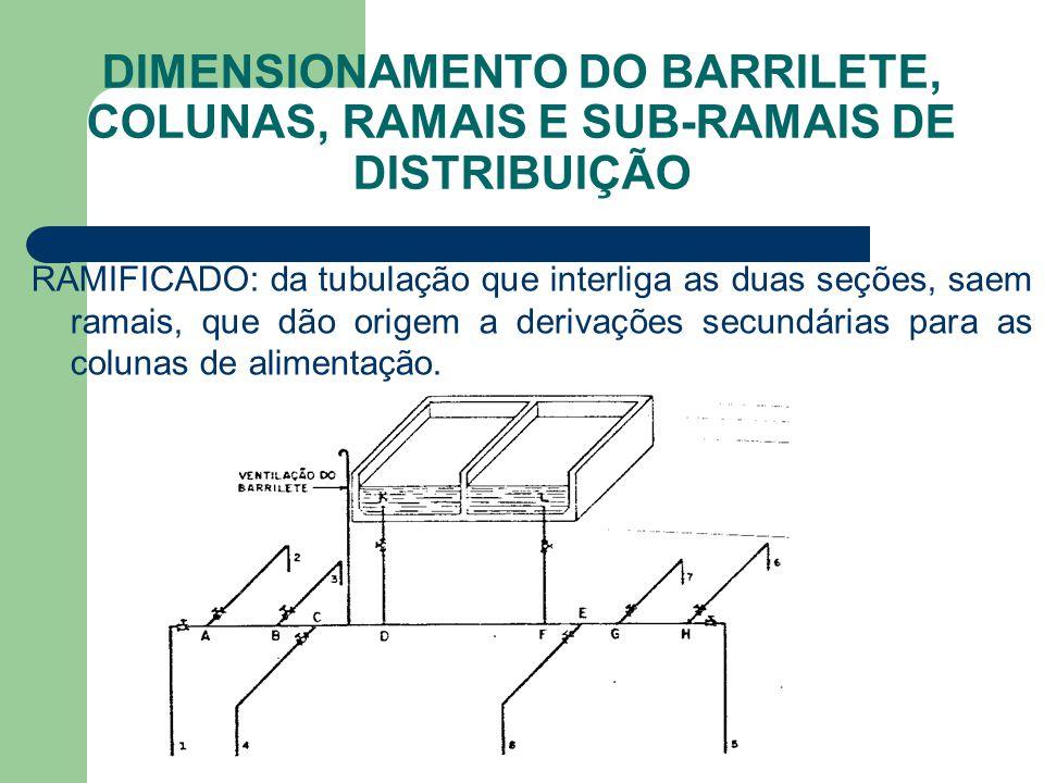 DIMENSIONAMENTO DO BARRILETE, COLUNAS, RAMAIS E SUB-RAMAIS DE DISTRIBUIÇÃO RAMIFICADO: da tubulação que interliga as duas seções, saem ramais, que dão