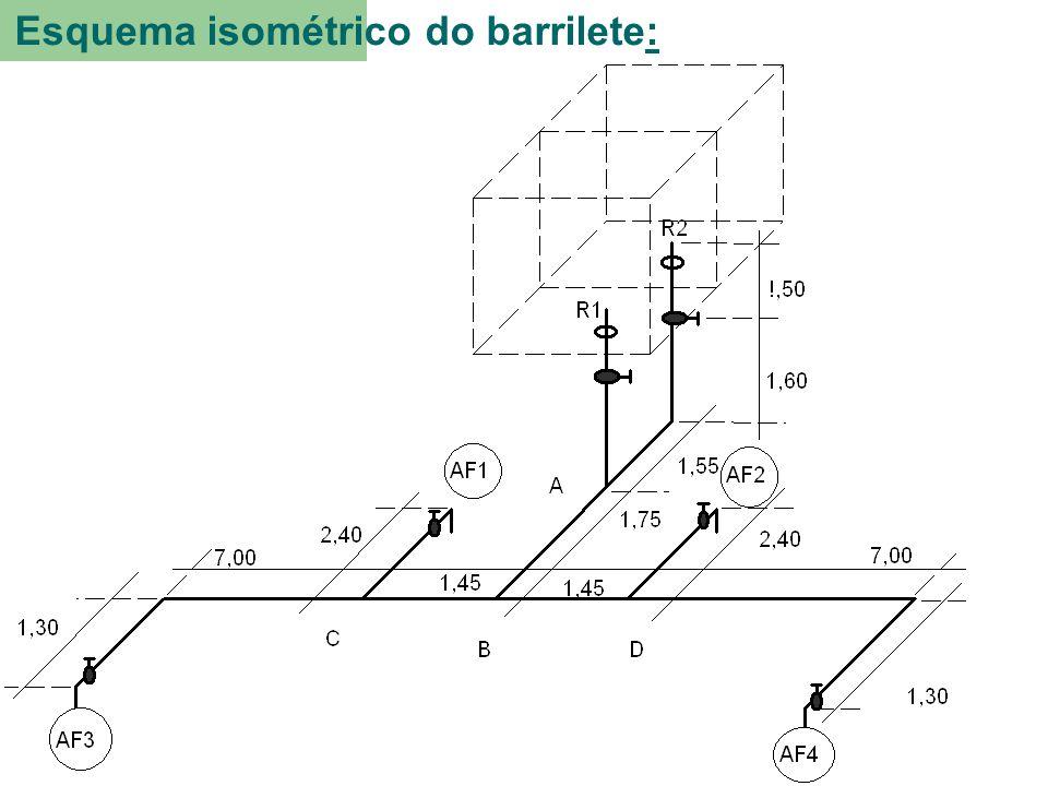 Esquema isométrico do barrilete:.