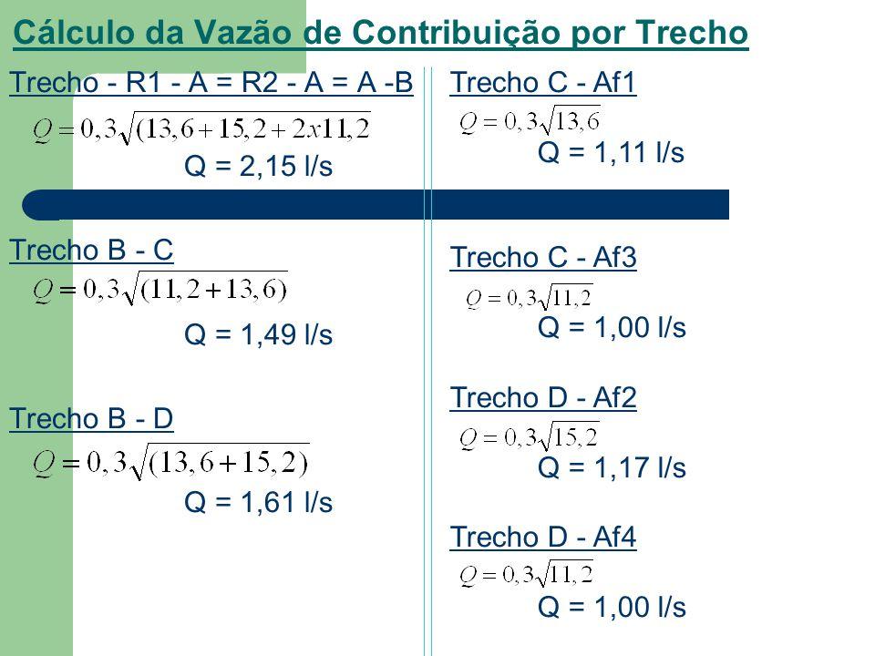 Cálculo da Vazão de Contribuição por Trecho Trecho - R1 - A = R2 - A = A -B Q = 2,15 l/s Trecho B - C Q = 1,49 l/s Trecho B - D Q = 1,61 l/s Trecho C