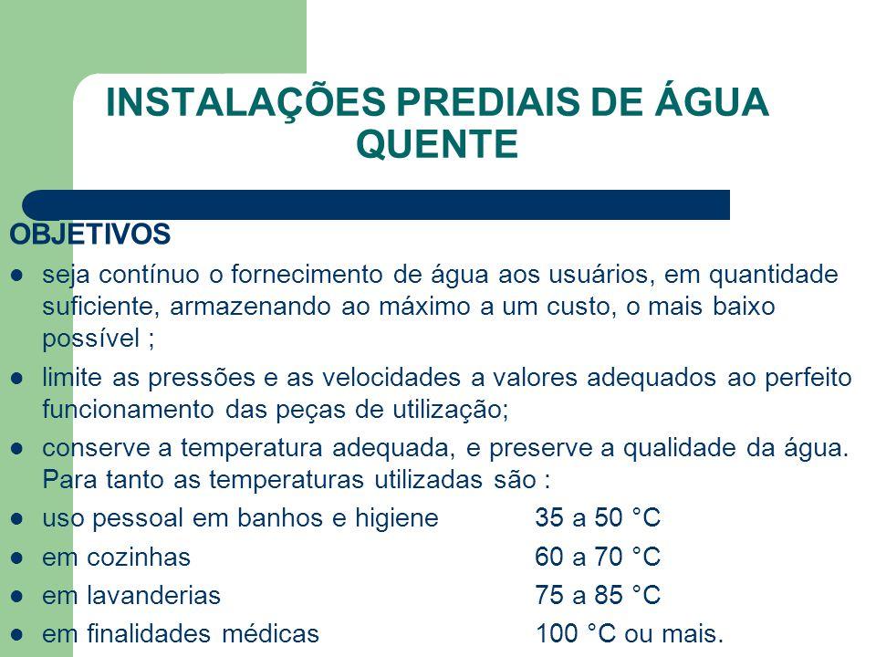 INSTALAÇÕES PREDIAIS DE ÁGUA QUENTE OBJETIVOS  seja contínuo o fornecimento de água aos usuários, em quantidade suficiente, armazenando ao máximo a u
