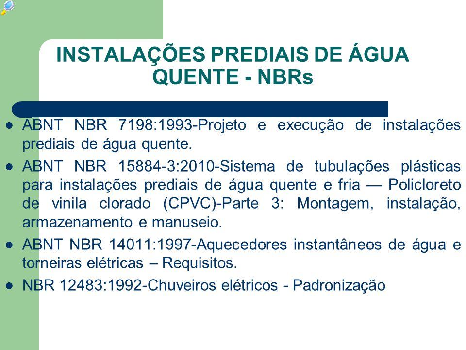 INSTALAÇÕES PREDIAIS DE ÁGUA QUENTE - NBRs  ABNT NBR 7198:1993-Projeto e execução de instalações prediais de água quente.  ABNT NBR 15884-3:2010-Sis