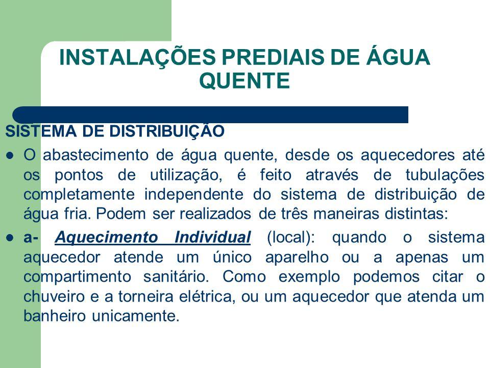 INSTALAÇÕES PREDIAIS DE ÁGUA QUENTE SISTEMA DE DISTRIBUIÇÃO  O abastecimento de água quente, desde os aquecedores até os pontos de utilização, é feit