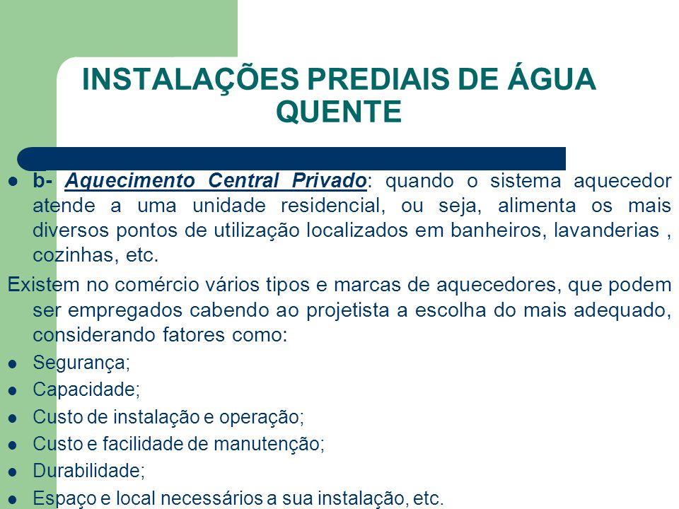 INSTALAÇÕES PREDIAIS DE ÁGUA QUENTE  b- Aquecimento Central Privado: quando o sistema aquecedor atende a uma unidade residencial, ou seja, alimenta o