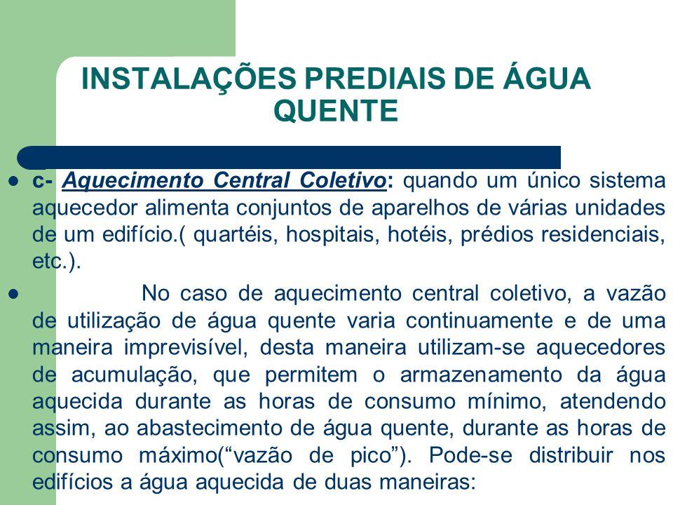 INSTALAÇÕES PREDIAIS DE ÁGUA QUENTE  c- Aquecimento Central Coletivo: quando um único sistema aquecedor alimenta conjuntos de aparelhos de várias uni