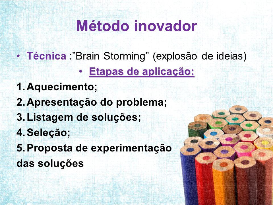 """Método inovador •Técnica :""""Brain Storming"""" (explosão de ideias) •Etapas de aplicação: 1.Aquecimento; 2.Apresentação do problema; 3.Listagem de soluçõe"""