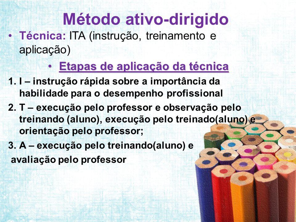 Método ativo - participativo •Ténica: trabalho em grupo dramatização; •Etapas da aplicação da técnica: 1.Aquecimento; 2.Proposição da atividade; 3.Discussão em grupo; 4.Encenação; 5.Discussão geral; e 6.Síntese e conclusões.