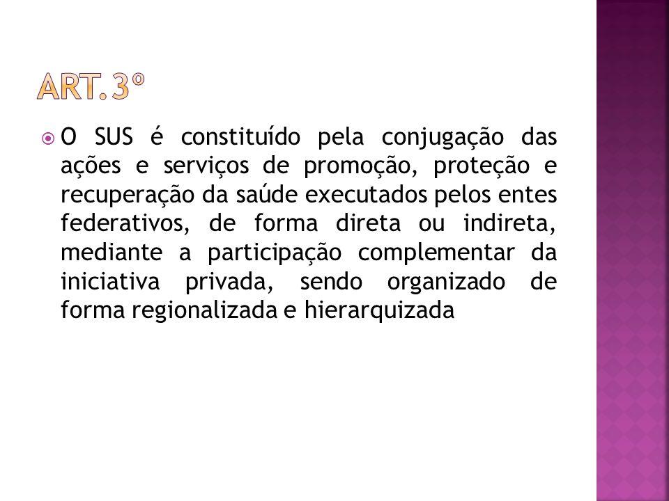  O SUS é constituído pela conjugação das ações e serviços de promoção, proteção e recuperação da saúde executados pelos entes federativos, de forma d